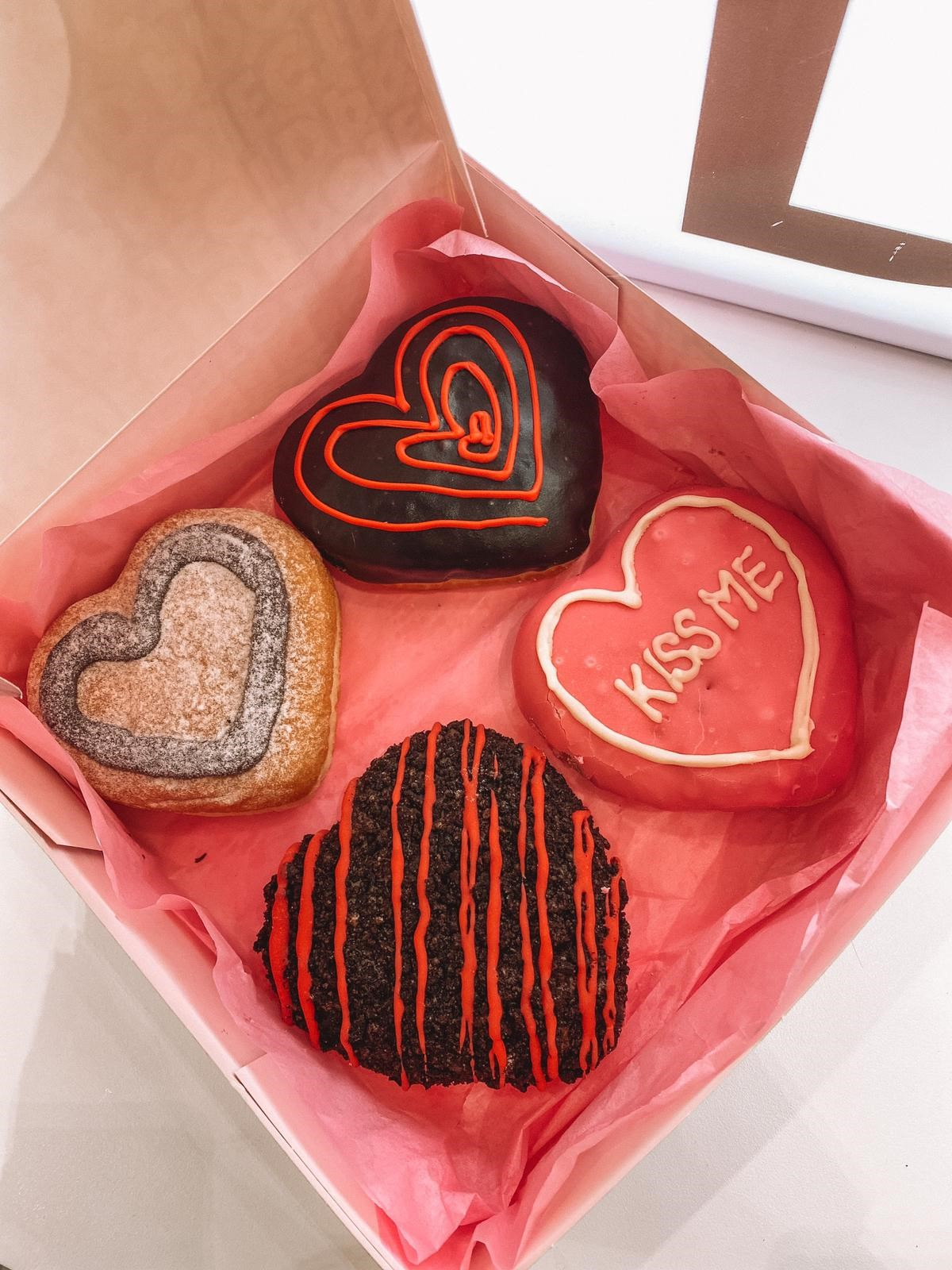 Some of the new Valentine's Day doughnuts which are on sale now